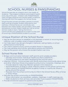School Nurses & PANS PANDAS Handout