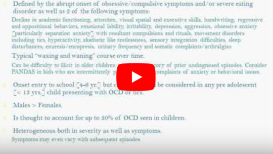 MCPAP – Pediatric Neuropsychiatric Disorders (Associated with Streptococcus): PANDAS/PANS