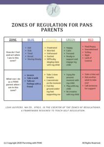 Zones of Regulation for PANS PANDAS Parents
