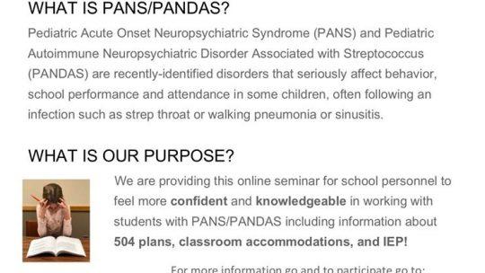 Free Online Seminar for Educators on PANDAS/PANS
